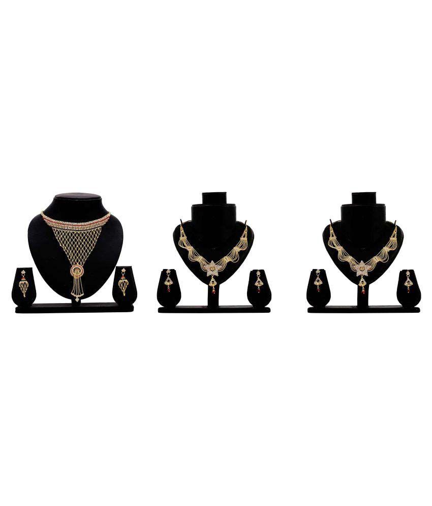 Dealseven Fashion Golden Alloy Set Of 3 Necklace Set.