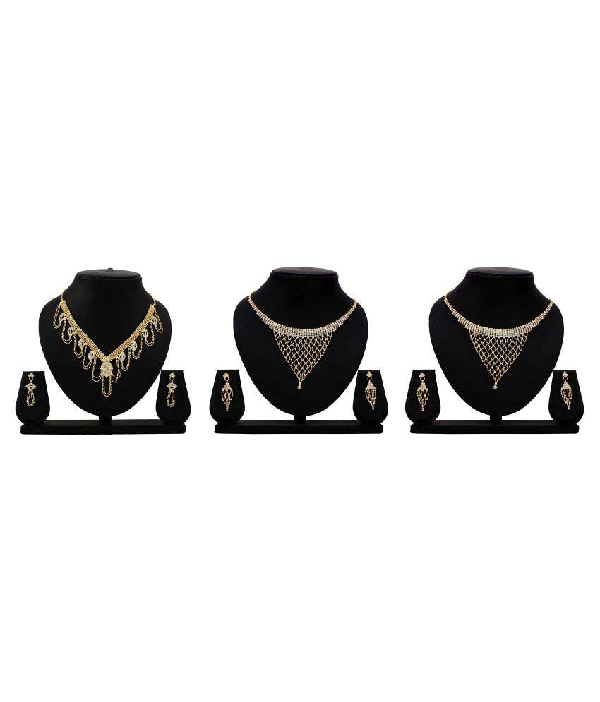 Gopalvilla Golden Alloy Combo of 3 Necklace Set