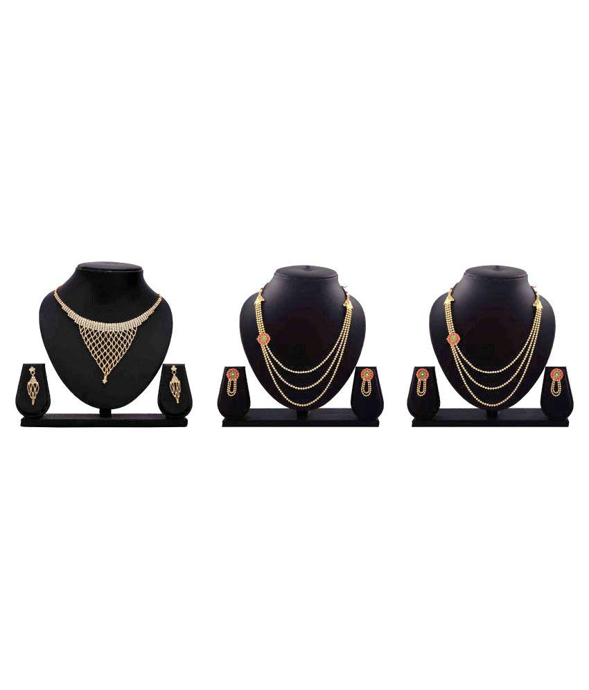 Gopalvilla Presents Golden Alloy Set of 3 Necklace Set