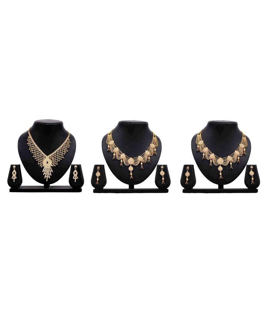 Dealseven Fashion Golden Color Alloy Set of 3 Necklace Set Combo.