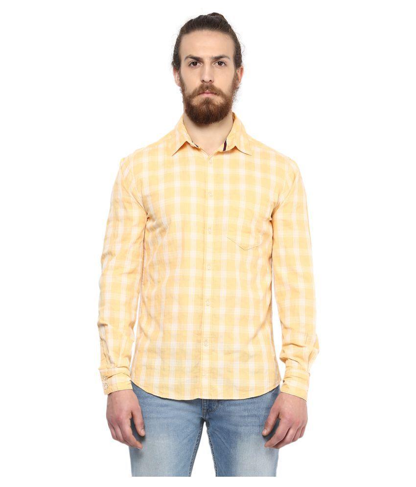 Crosscreek Yellow Casual Regular Fit Shirt
