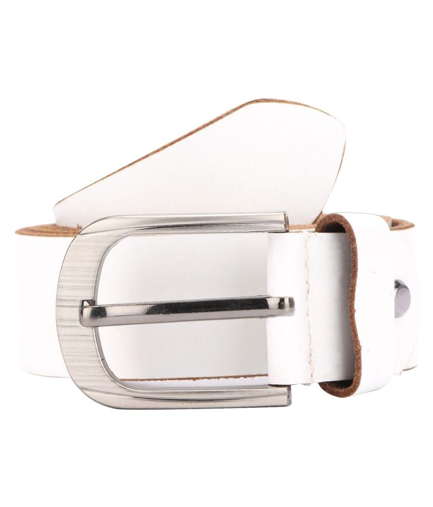 Hide Bulls White Leather Casual Belts