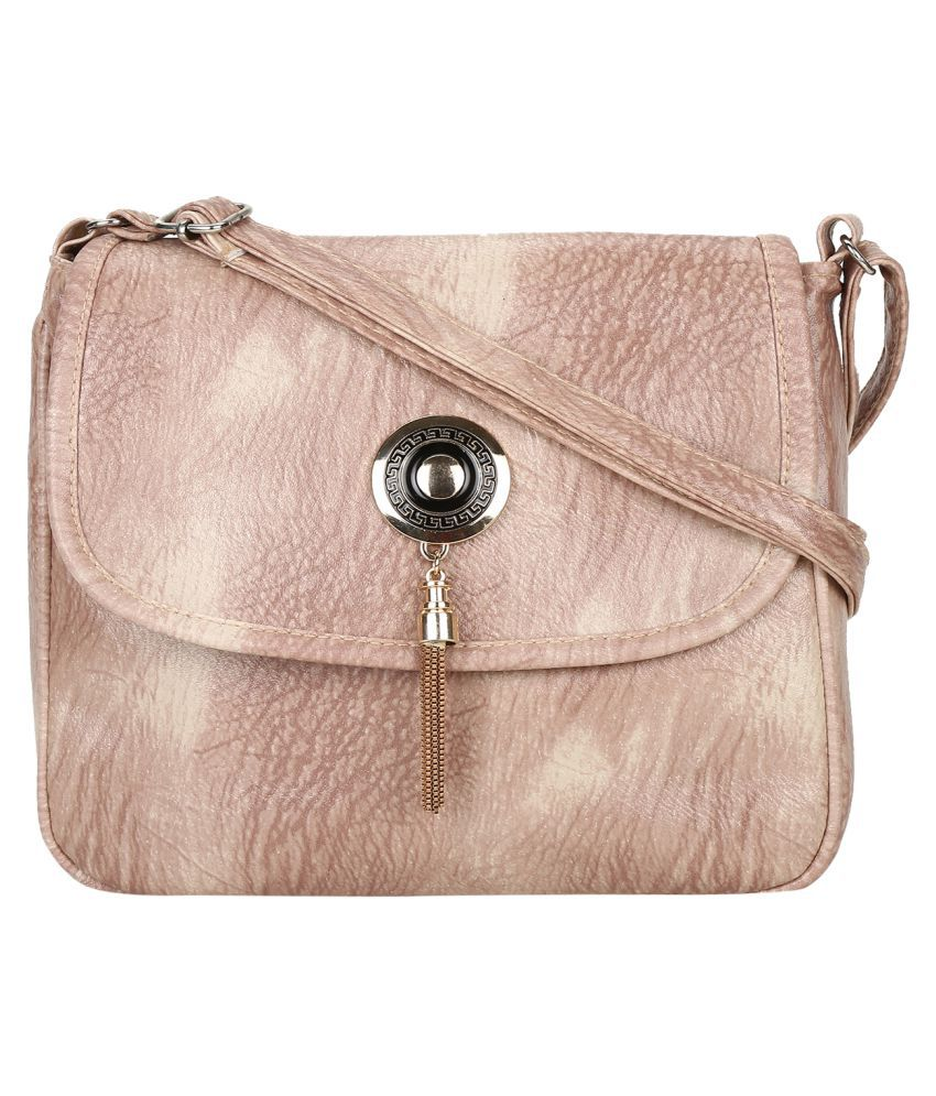 MTE Beige Faux Leather Sling Bag