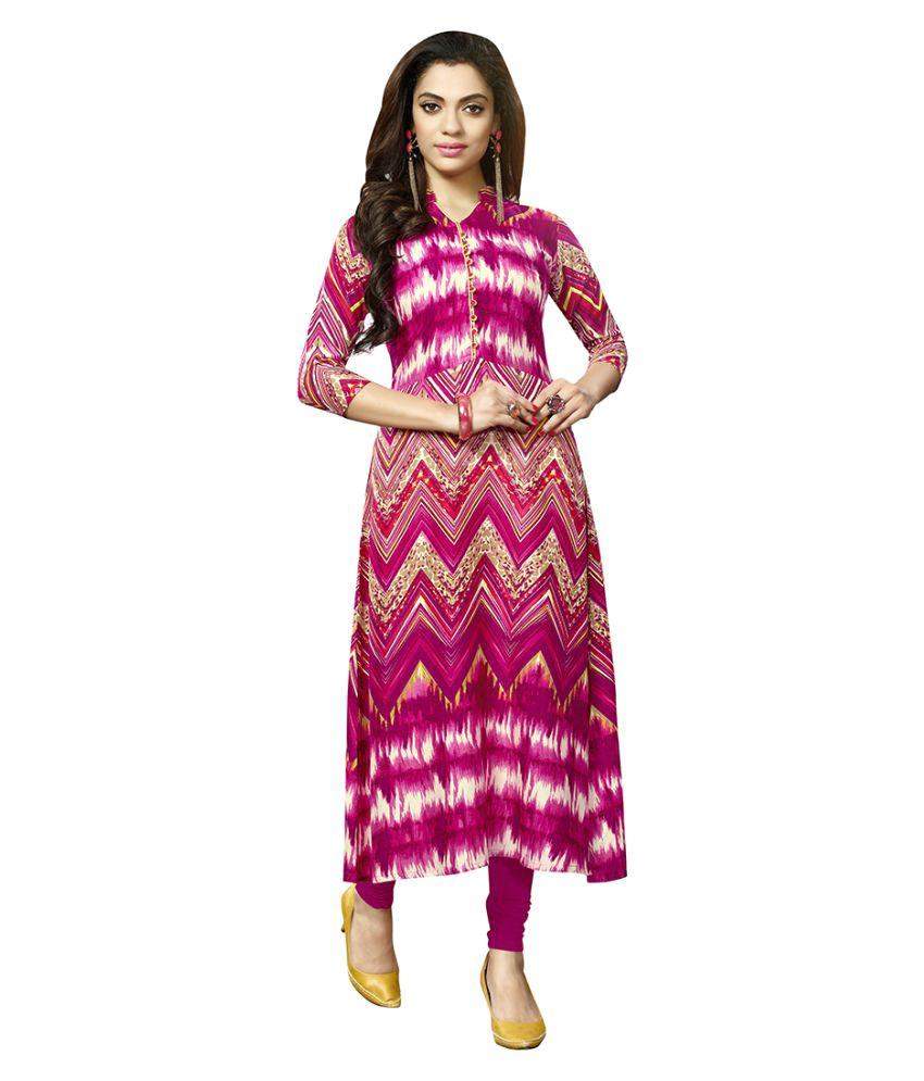 Rani Fashion Pink Rayon A-line Kurti
