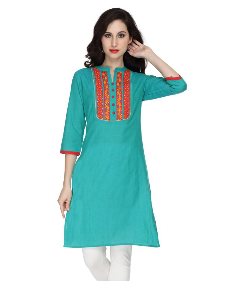 Awesome Green Cotton Straight Kurti