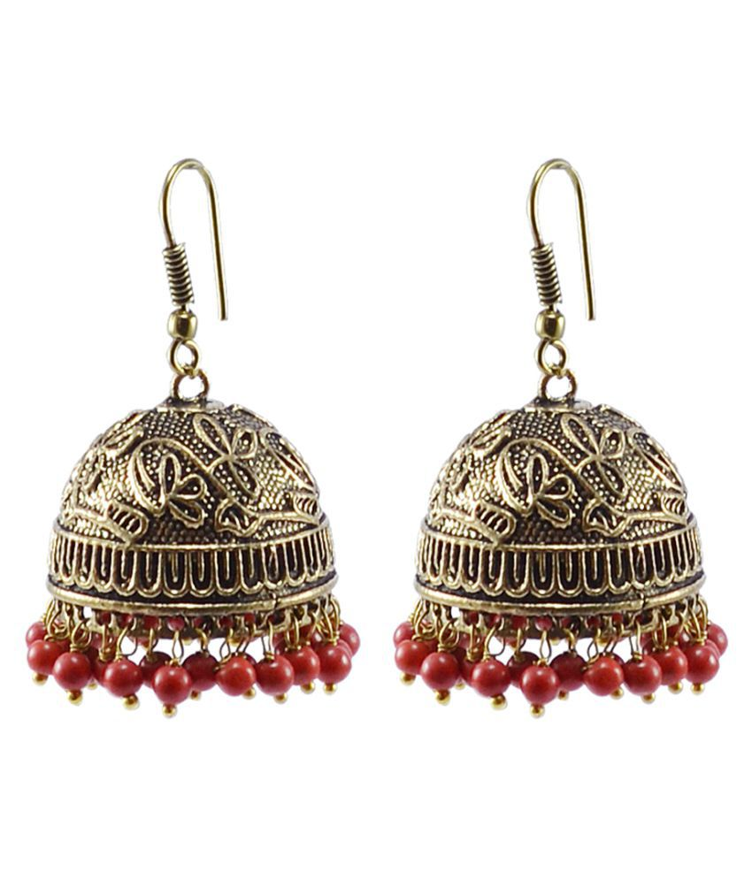 Handmade Oxidized Jhumki With Reconstituted Coral Beads Earrings-Jaipuri Night Glow Jewelry Silvesto India PG-104420