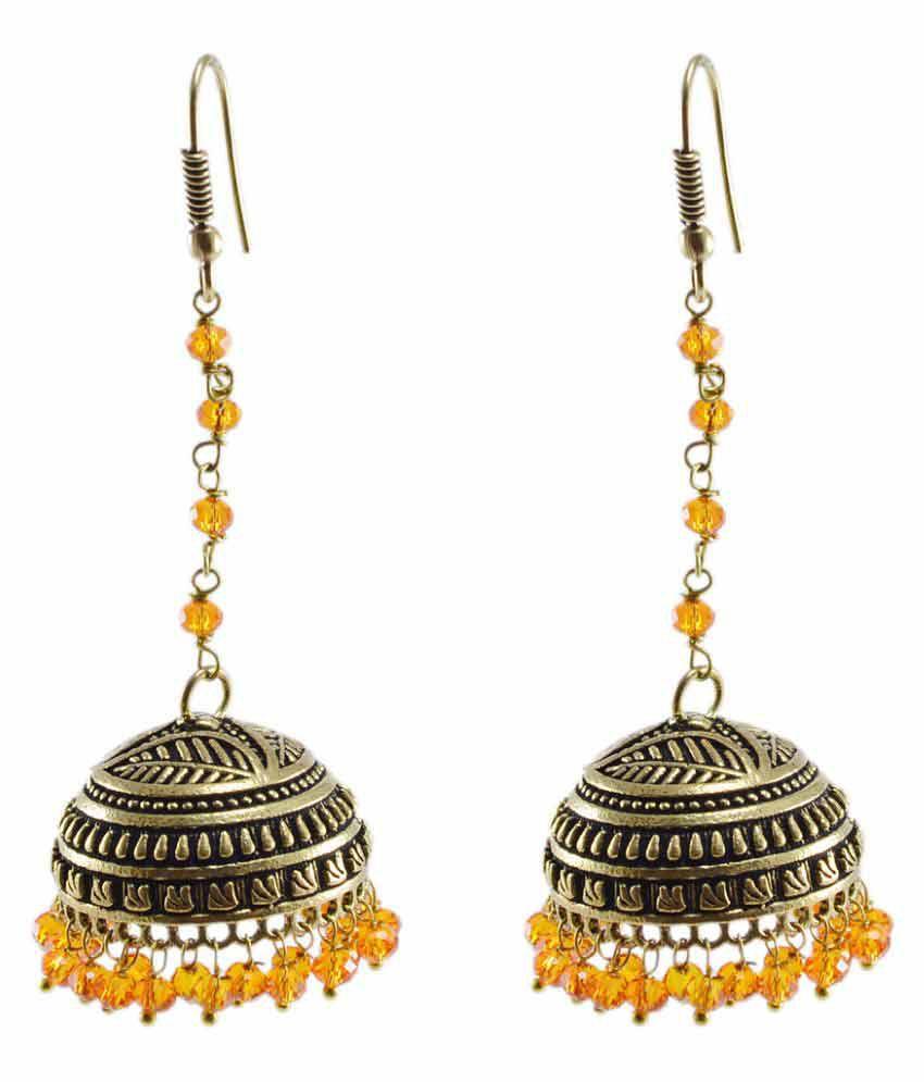Silvesto India Vintage Crafted Jewelry-Jaipuri Jhumka-Orange Crystal Beads Earrings PG-104256