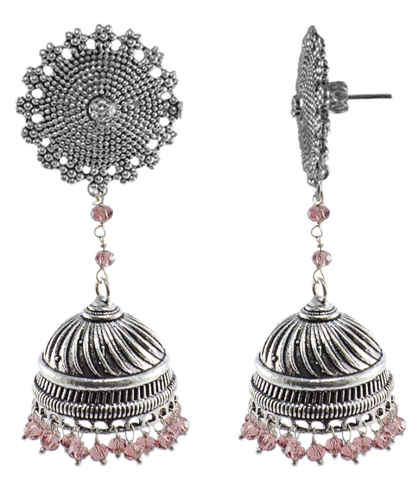 Bridal Jhumka Earring With Amethyst Crystal Beads-Indian Floral Studs Jhumki Earrings Jewellery by Silvesto India PG-104863