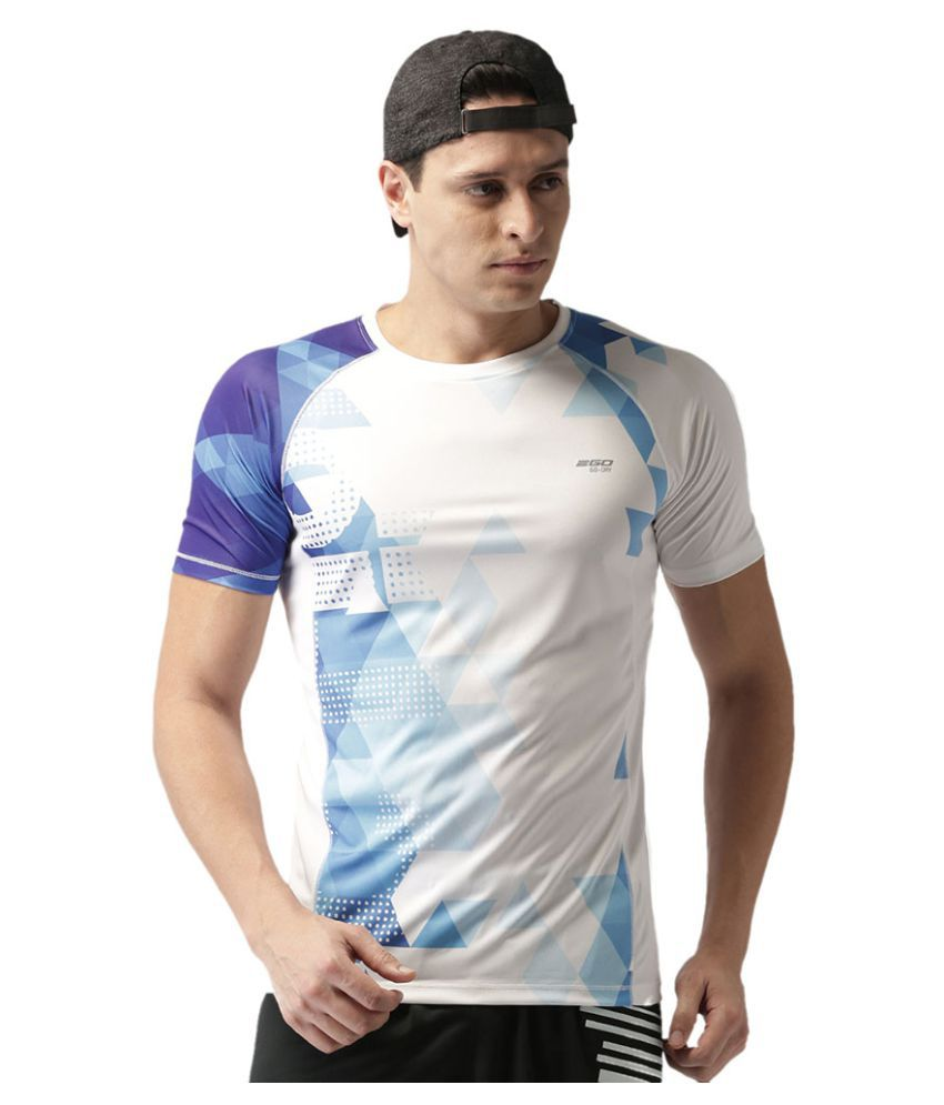 2GO Electric Blue Print Half sleeves T-shirt