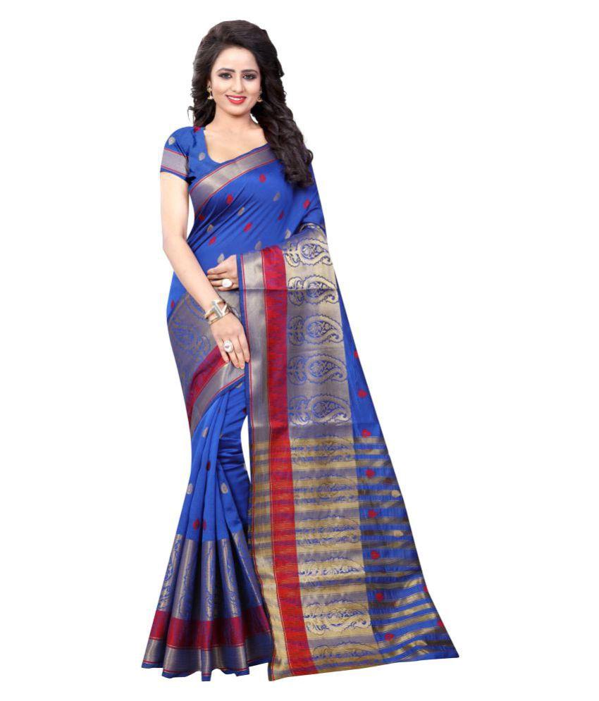 Ladie Silk Blue Cotton Silk Saree