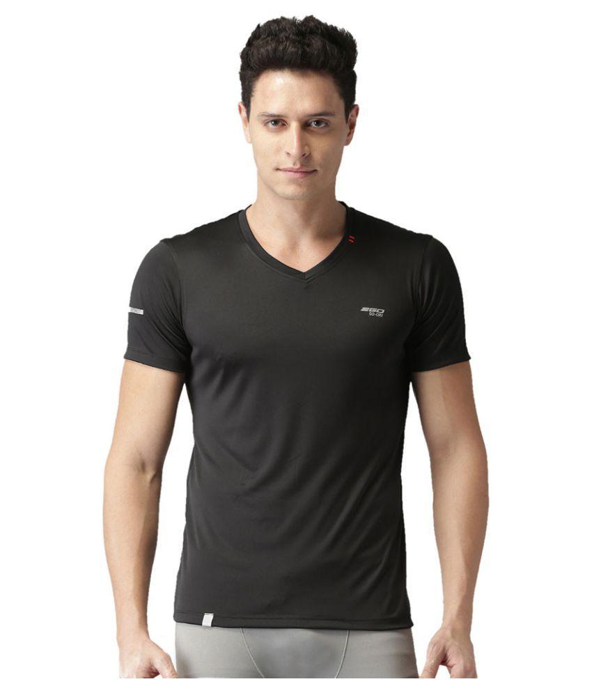 2GO Bold Black GO Dry V-neck half sleeves T-shirt