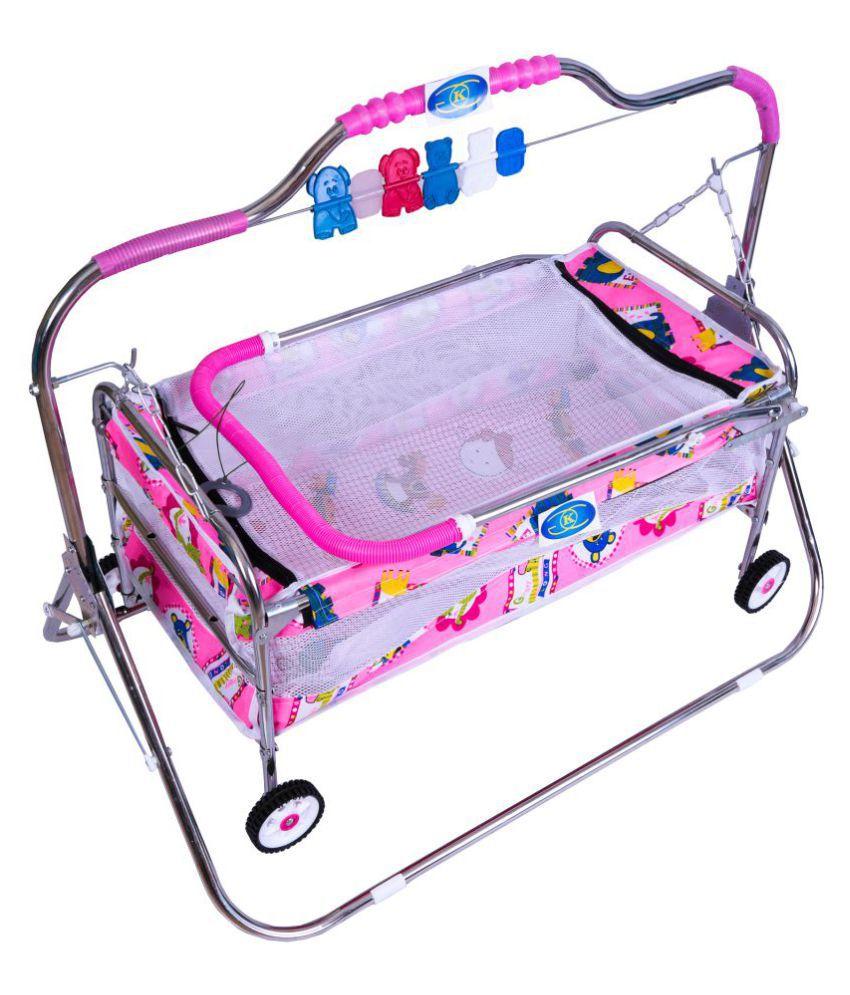 KGC Networks Kids Baby Multifunctional Baby Best Bassinet Cradle with Mosquito Net (SCBAGGIJHULLA6STEELPINK136-136)
