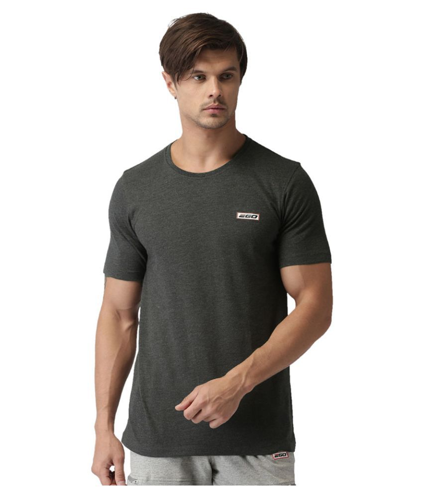 2GO Charcoal Mel Half sleeves Round Neck T-shirt