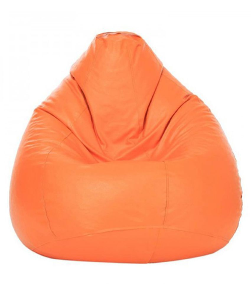 Sultaan Rexine Leather Orange Bean Bag Cover Without