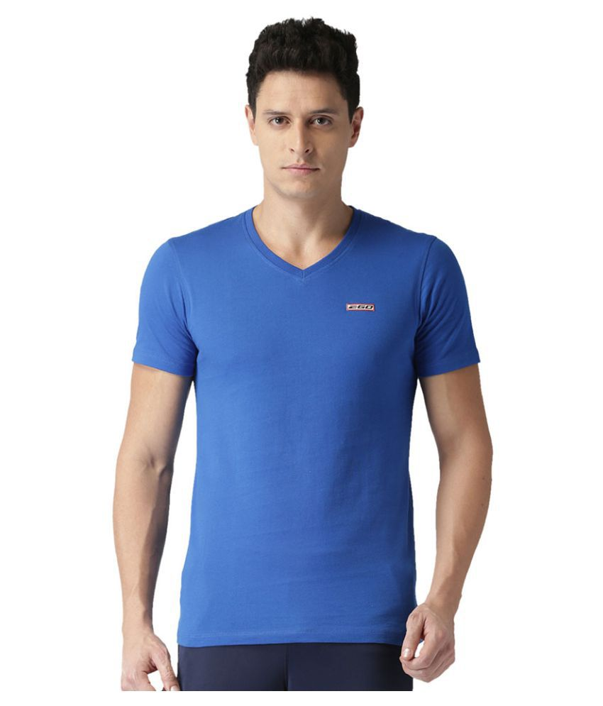 2GO Electric Blue Half sleeves V-Neck T-shirt