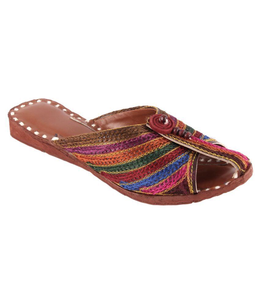 Kanishq Designer Studio Multi Color Flat Ethnic Footwear