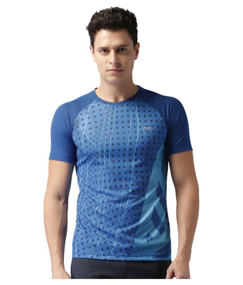 2GO Electric Blue Print 2GO Running Round Neck Half sleeves T-Shirt