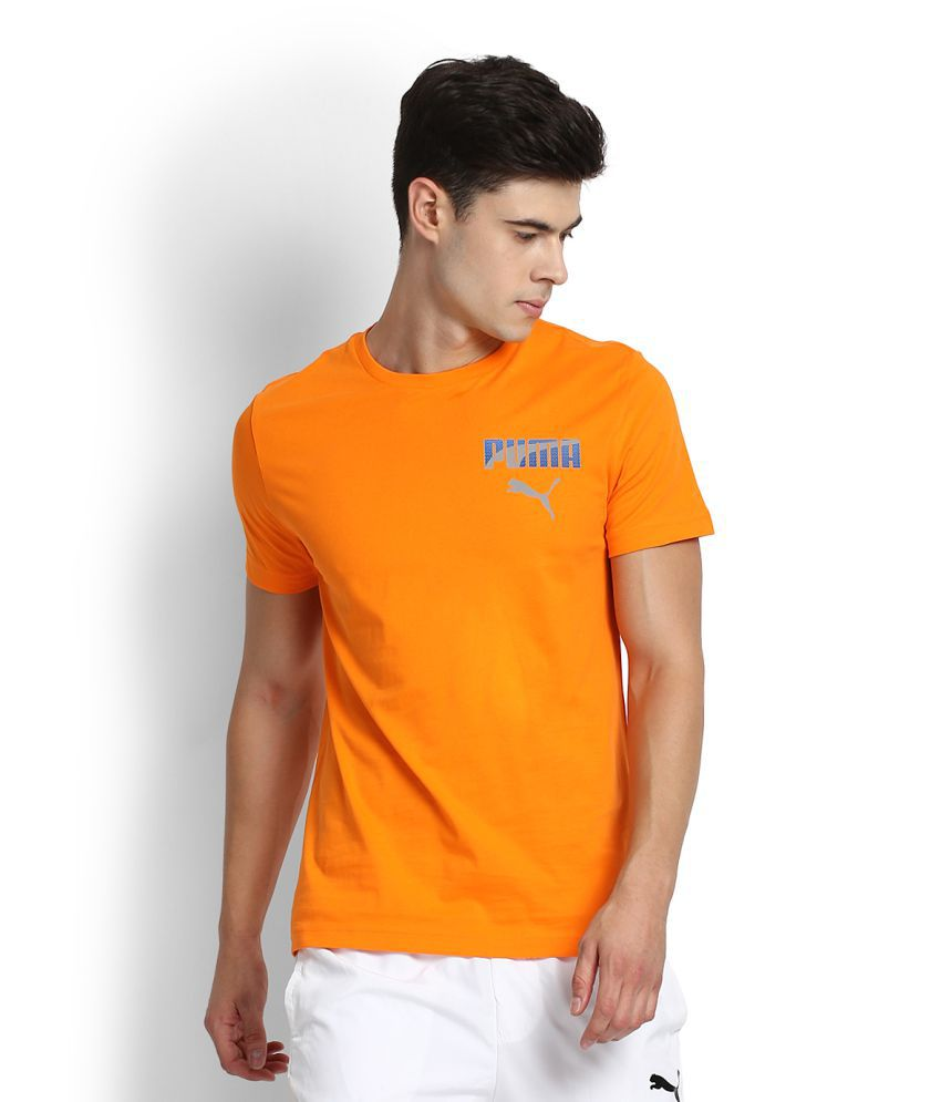 Puma Orange Cotton T-Shirt