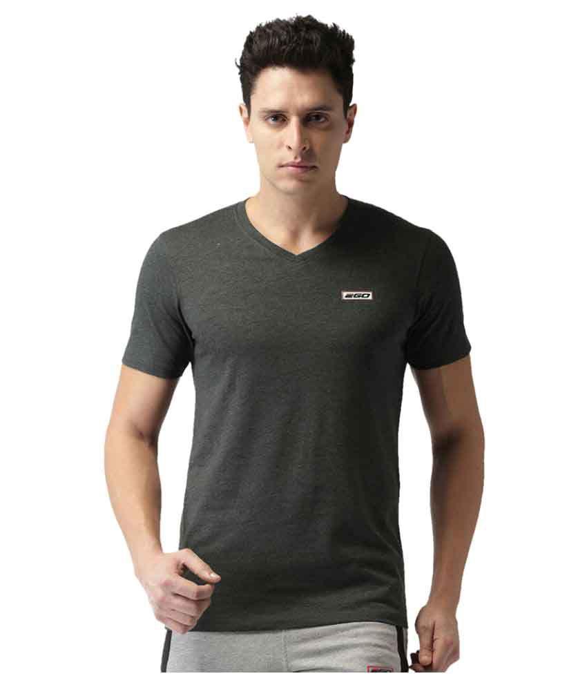 2GO Charcoal Mel Half sleeves V-Neck T-shirt