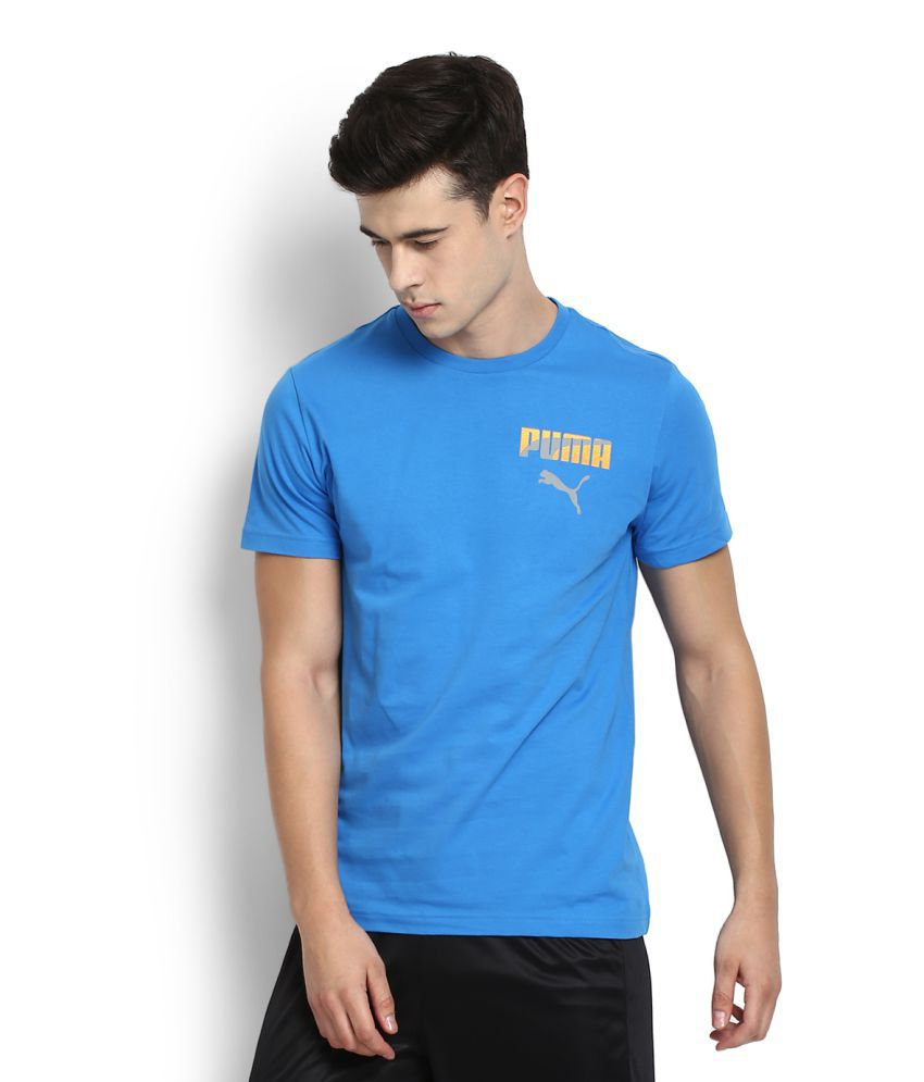Puma Blue Cotton T-Shirt