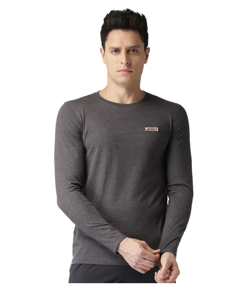 2GO Charcoal Mel Full sleeves Round Neck T-shirt