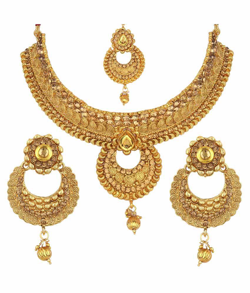 Wedding Wear Bridal Gold Necklace Set Rs 150000 Set: Jewels Gold Party Wear For Wedding Fashion Designer