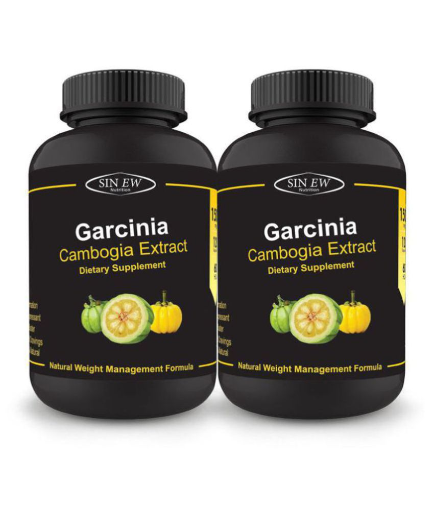 Sinew Nutrition Garcinia Cambogia Extract -(120 Count - Pack of 2) 1500 mg Per Serving, 100% Veg, Pure & Natural Weight Capsule 1500 mg Pack of 2