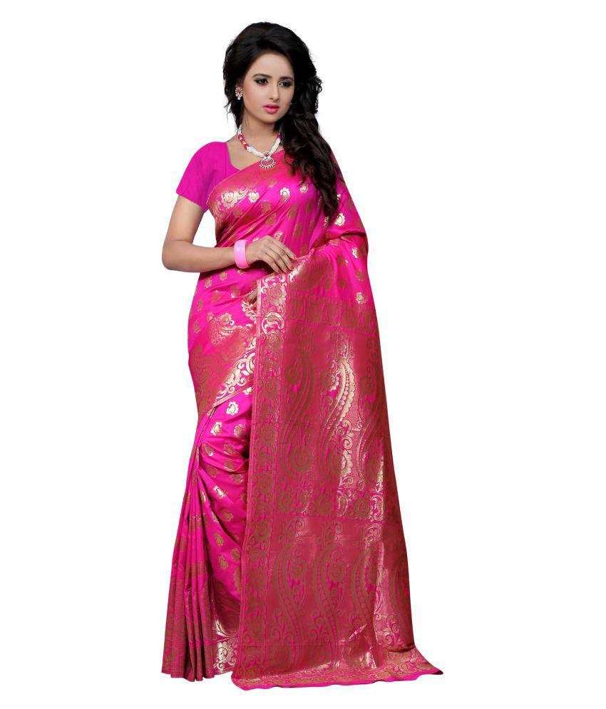 Avsar Prints Pink Banarasi Silk Saree