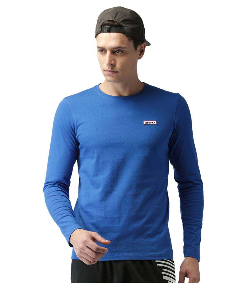 2GO Electric Blue Full sleeves Round Neck T-shirt