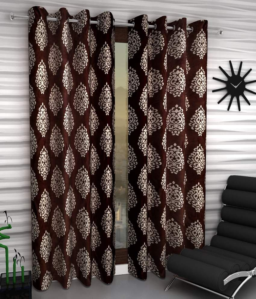 Home Sizzler Set of 2 Window Eyelet Curtains Ethnic Brown