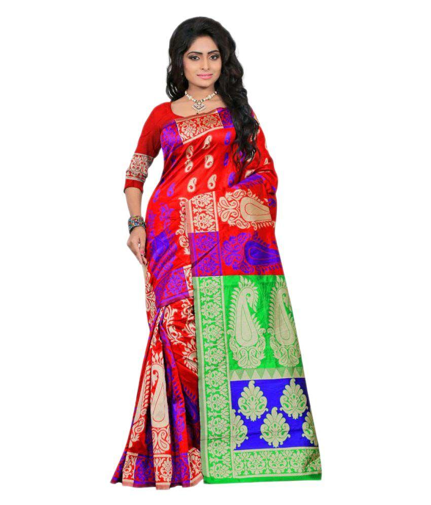 Saloni Designer Red Banarasi Silk Saree