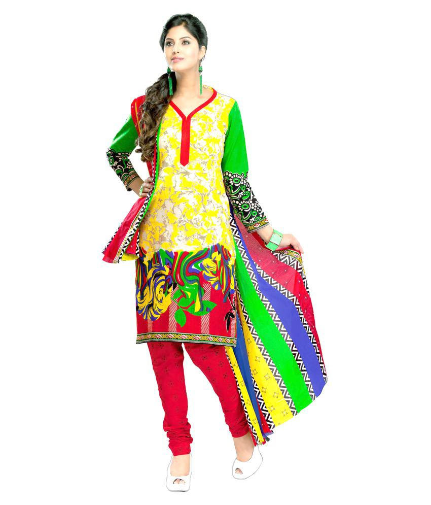 Minu Multicoloured Cotton Straight Stitched Suit