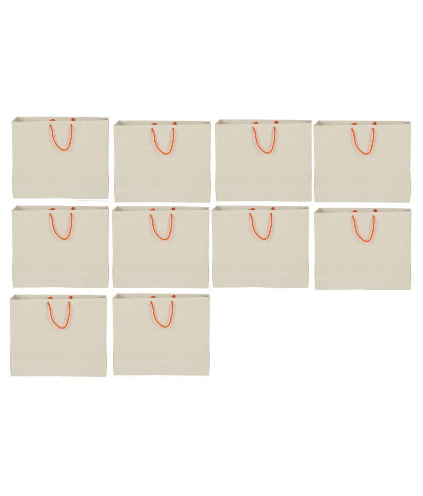 Shri Shri Enterprises White Shopping Bags - 10 Pcs