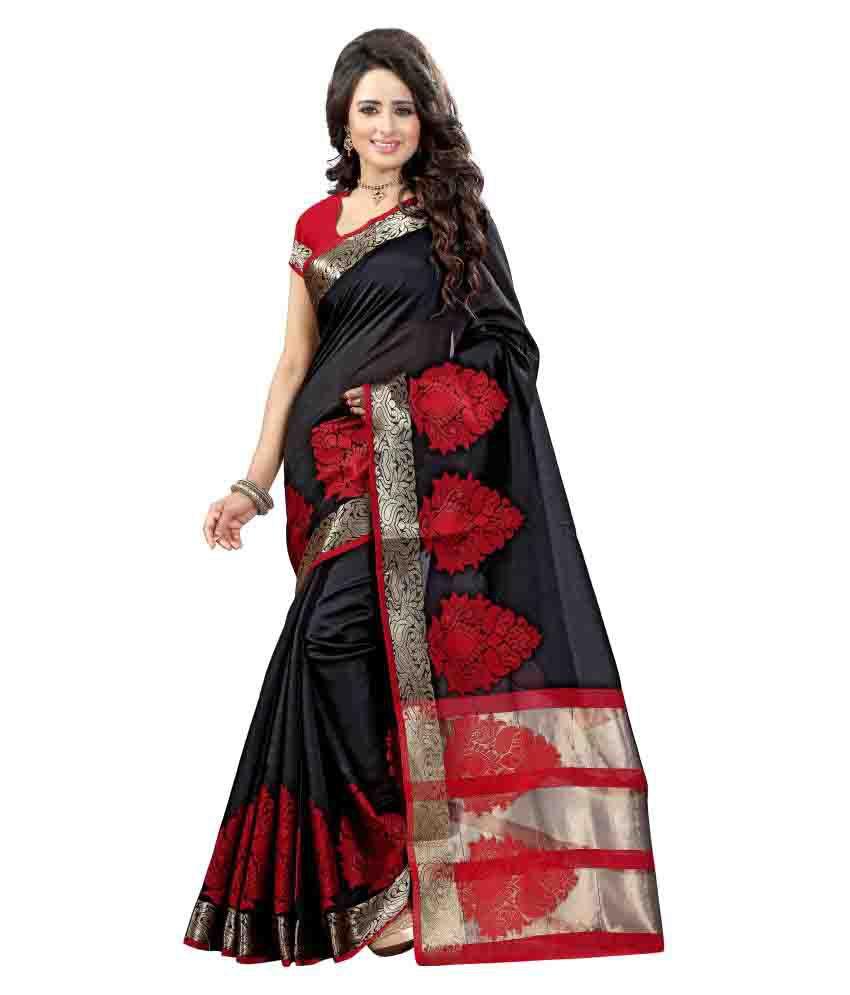 Ladie Silk Black Cotton Silk Saree