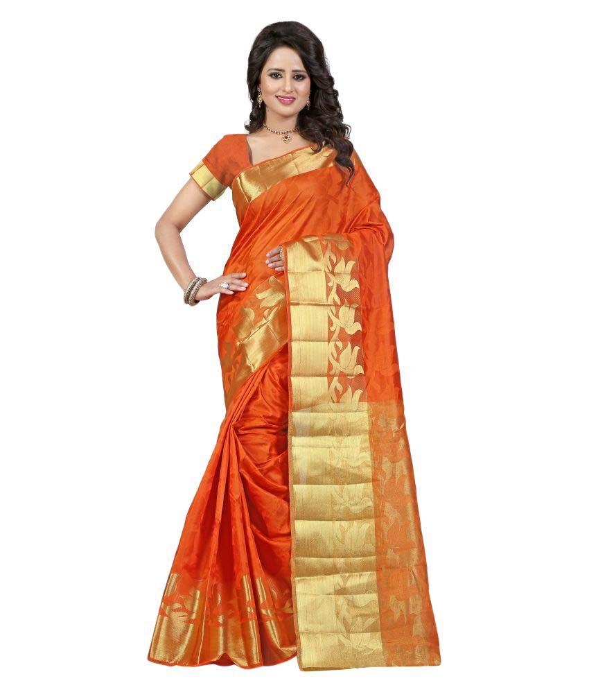 Ladie Silk Orange Cotton Silk Saree