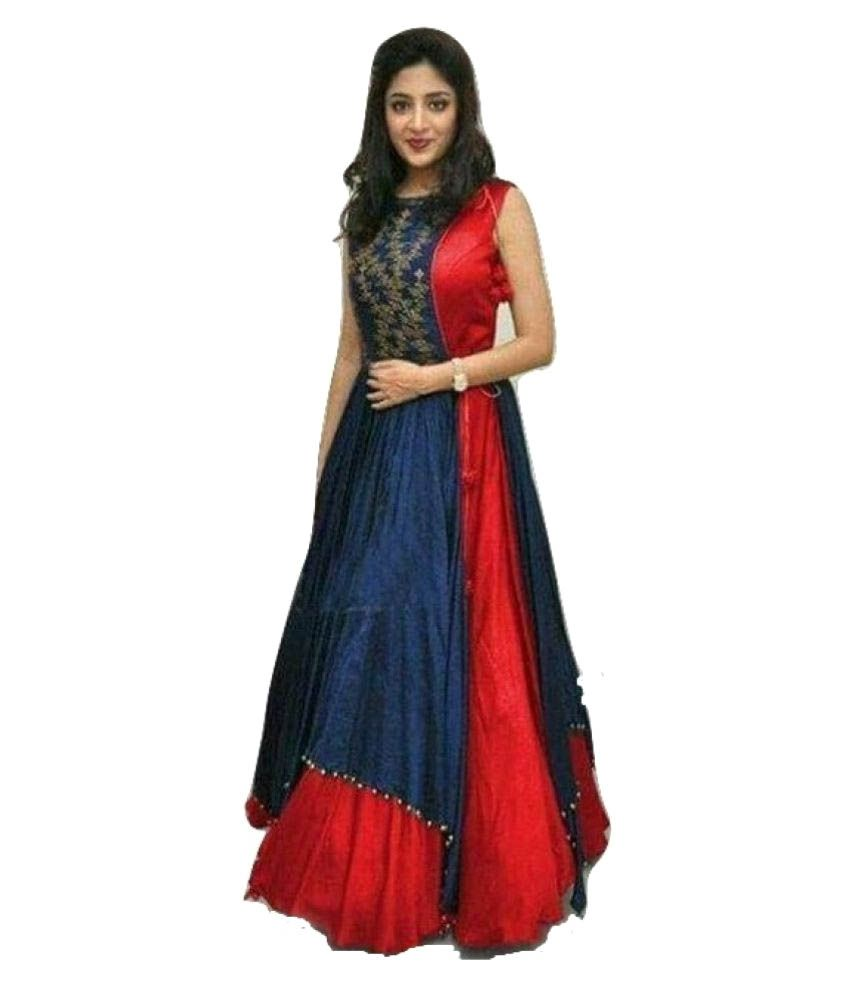 90edbee142378b Vivel's Blue and Red Dupion Silk Anarkali Gown Semi-Stitched Suit - Buy  Vivel's Blue and Red Dupion Silk Anarkali Gown Semi-Stitched Suit Online at  Best ...