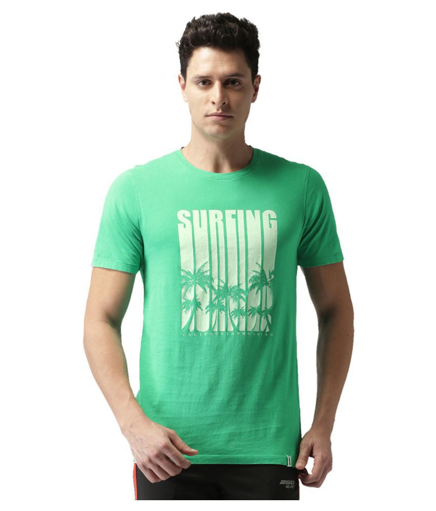 2GO Parrot Green Round Neck Half sleeves Printed T-shirt
