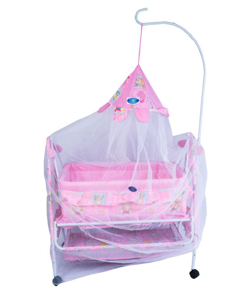 KGC Networks Kids Multifunctional Baby Best Bassinet Cradle with Mosquito Net (LBCRIBPINK158-158)