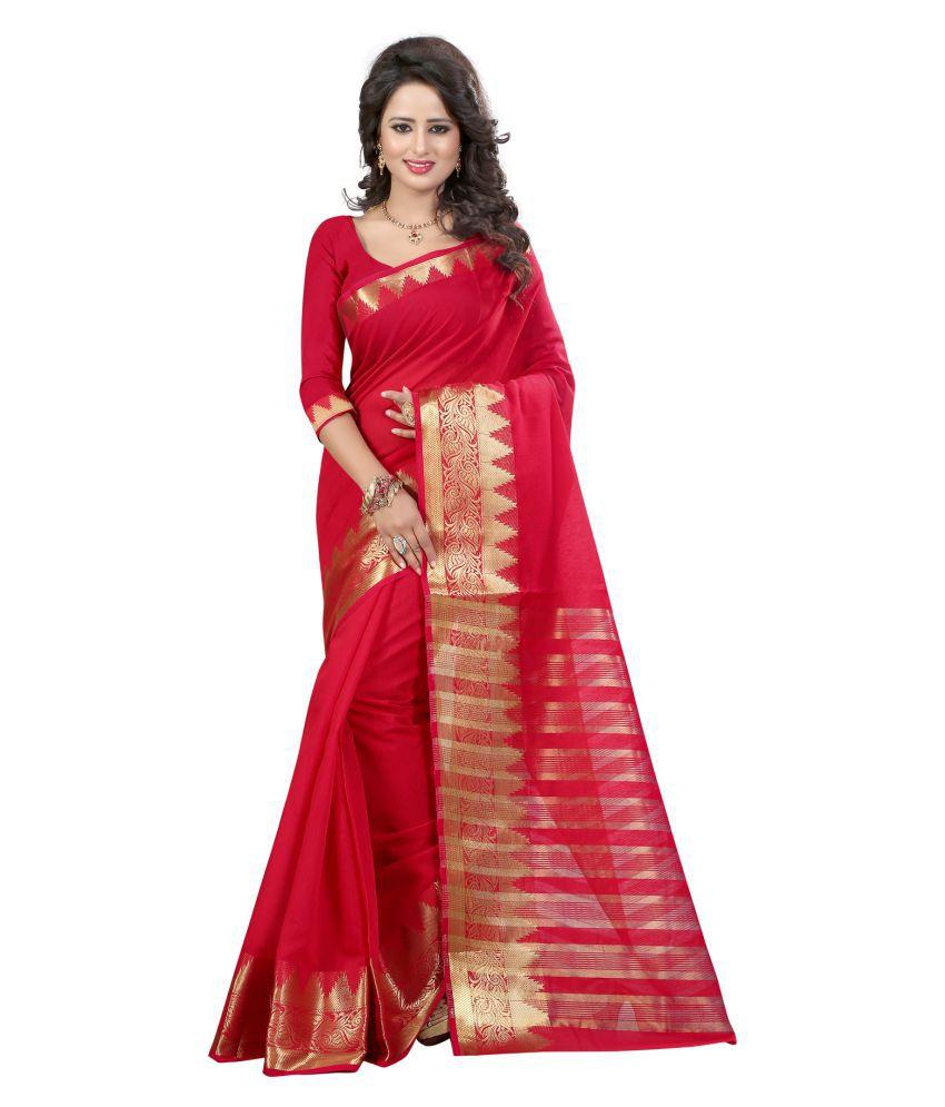 Vishwas Enterprise Red Banarasi Silk Saree