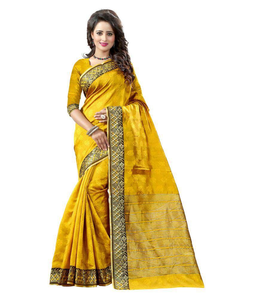 Vishwas Enterprise Yellow Banarasi Silk Saree