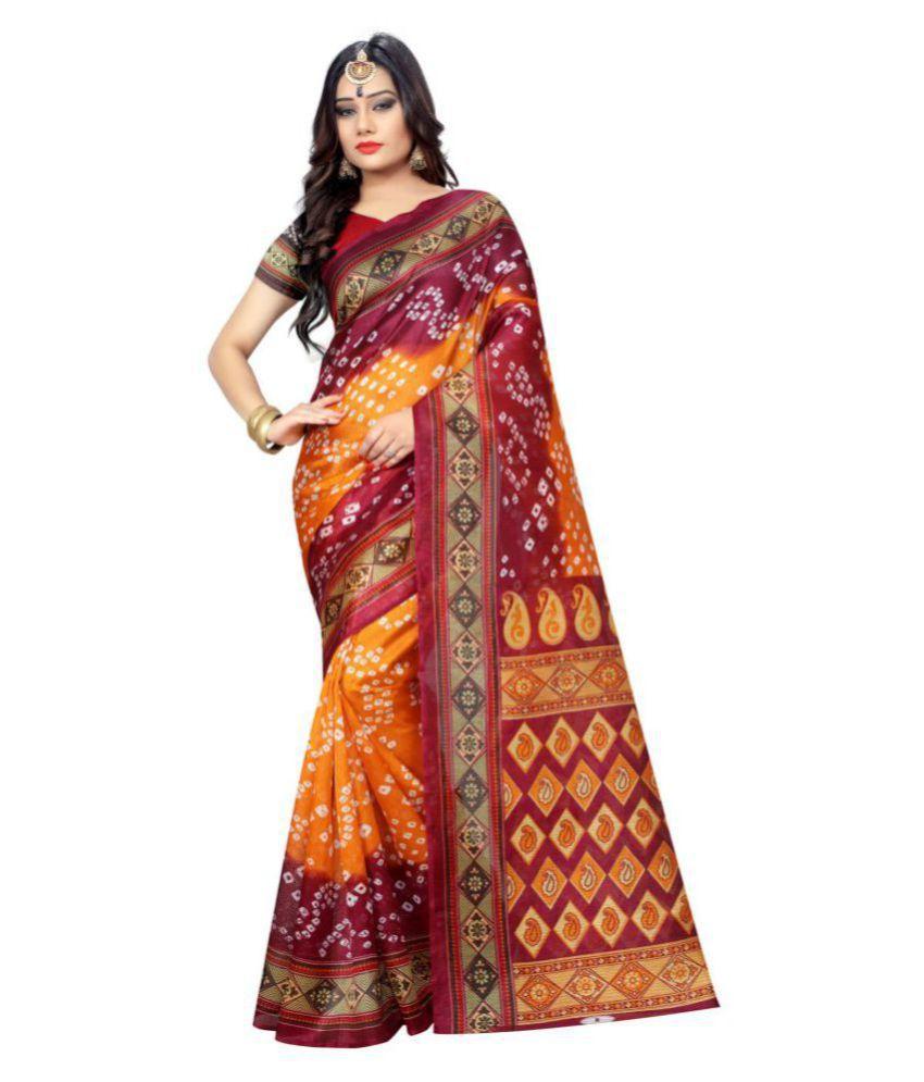 Kuvarba Fashion Brown and Orange Cotton Silk Saree