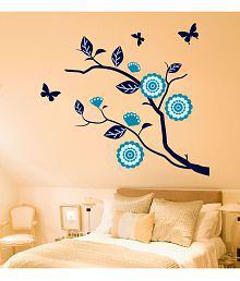 NewWayDecals ''Blue Colour Butterfly And Tree'' Vinyl Blue Wall Sticker - Pack Of 1