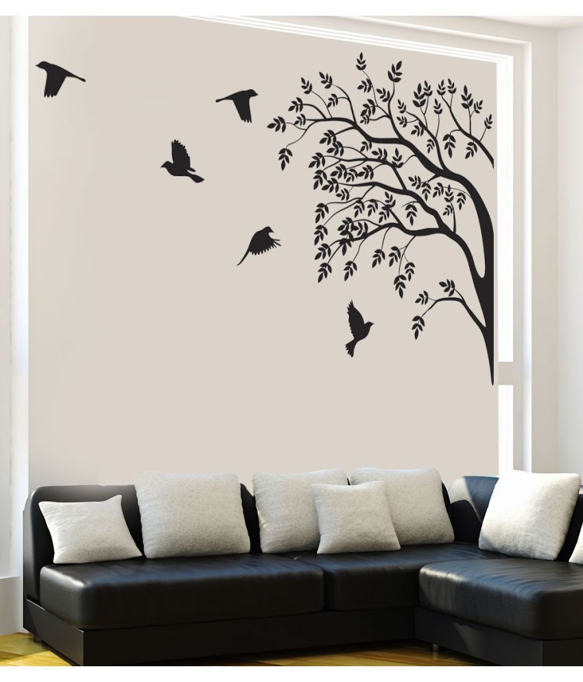 Newwaydecals Black View Of Birds And Trees Vinyl Black