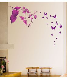 NewWayDecals ''Pink Leaves With Flying Butterflies'' Vinyl Pink Wall Sticker - Pack Of 1
