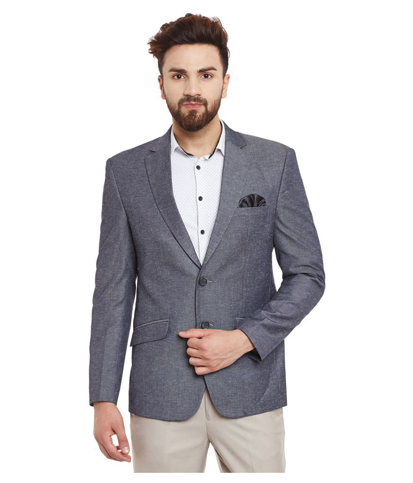 Canary London Grey Solid Casual Blazers