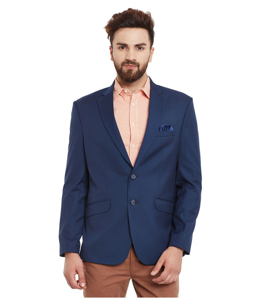 Canary London Blue Solid Casual Blazers