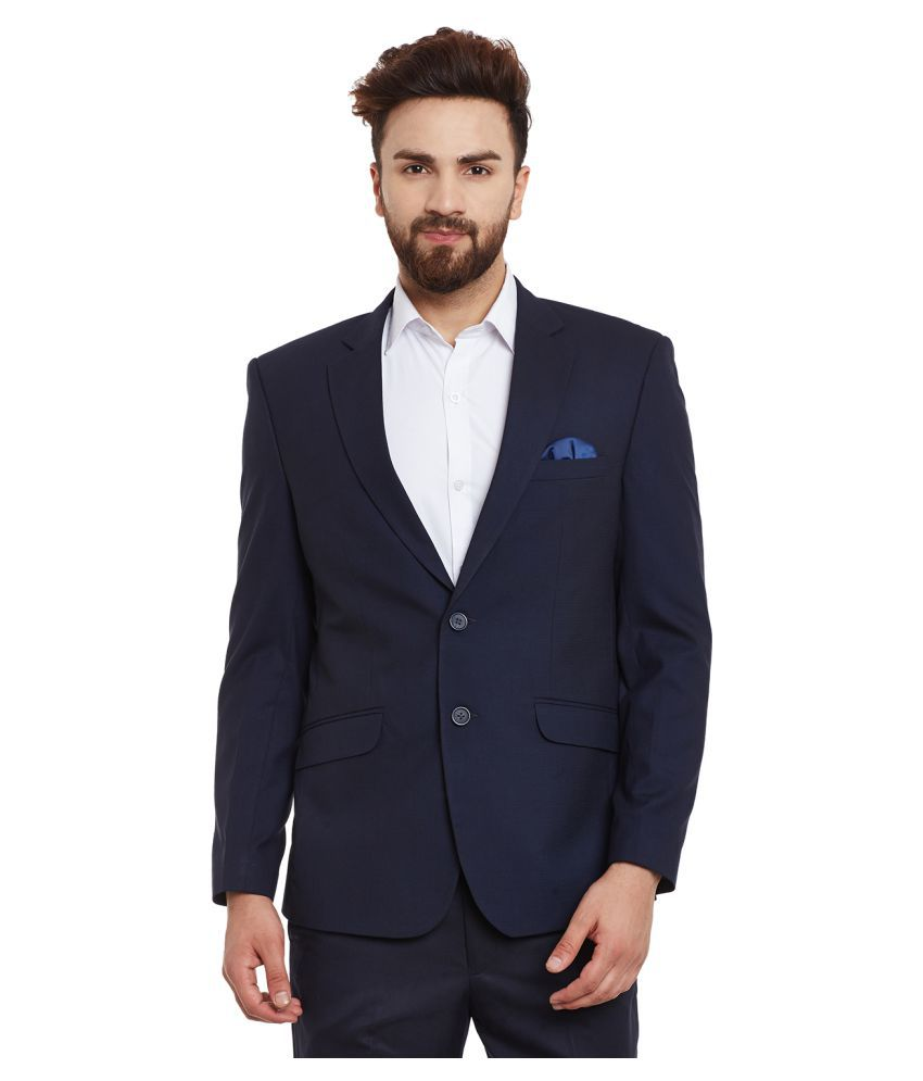 Canary London Navy Self Design Casual Blazers