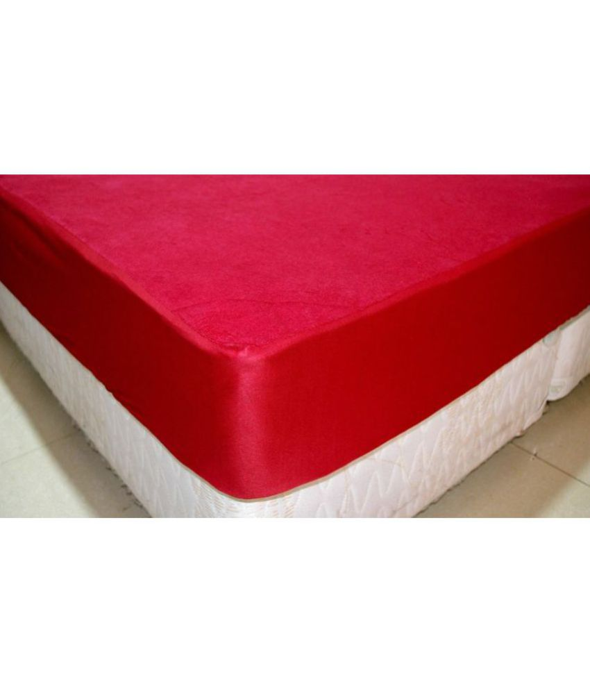 avi waterproof and dustproof double bed fitted maroon cotton