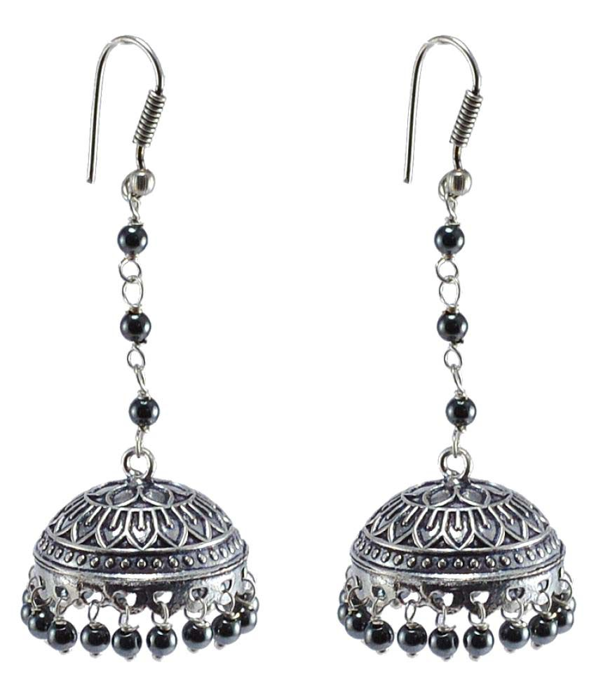 Jaipuri jhumka oxidized jhumkai dome shaped hematite dangle jaipuri jhumka oxidized jhumkai dome shaped hematite dangle chandelier earring silvesto india pg mozeypictures Image collections