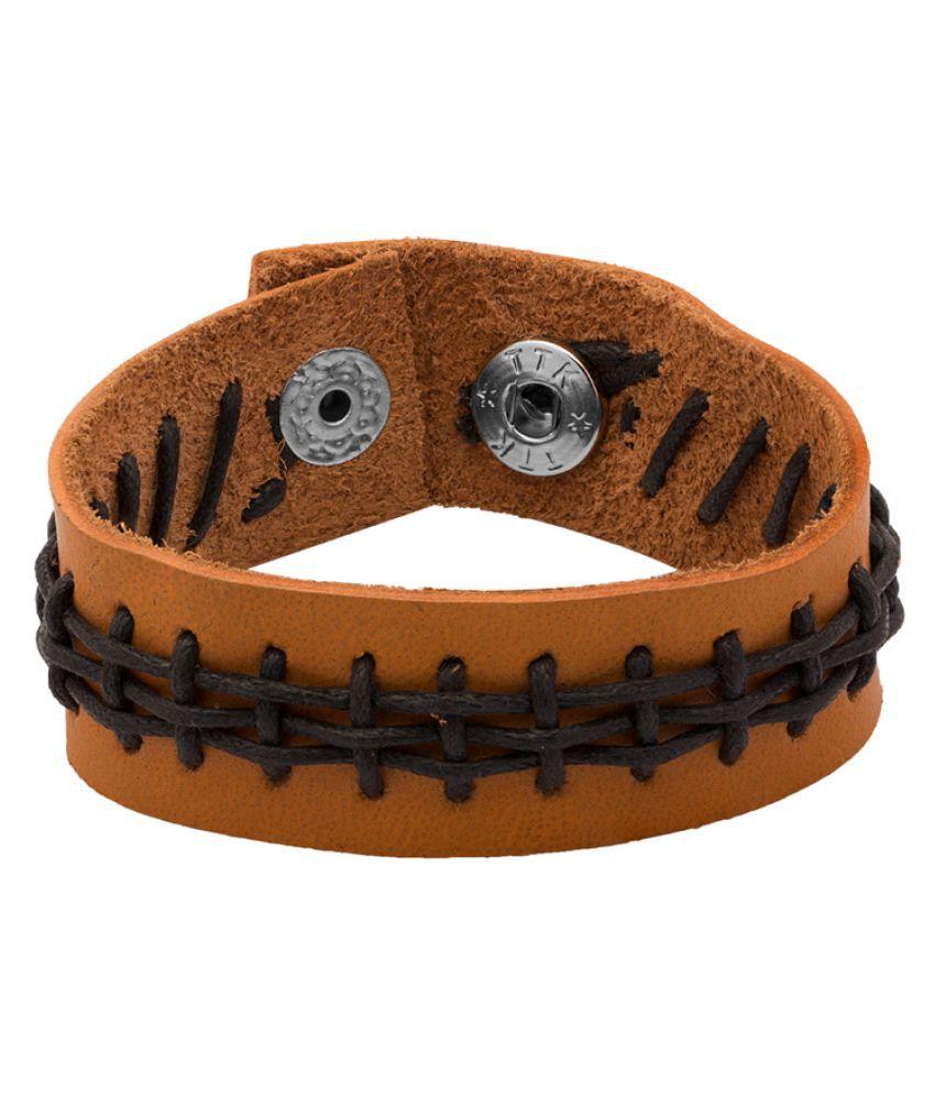 Dare Light Brown With Black Thread Design Bracelet For Men